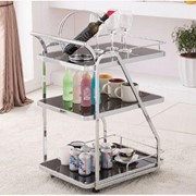 Cocktail Trolley - Chrome with Black Glass