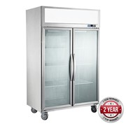 F.E.D 2 Glass Door 1000L SS Freezer | Thermaster Tropical Rated