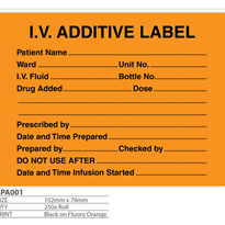 I.V. Additive Label