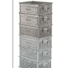 Metal Heat Galvanised perforated stacking container | FAMI