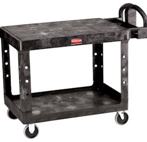 Large 2 Tier Heavy Duty Utility Cart with Flat Shelf - Produced by Rubbermaid