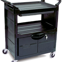 Rubbermaid Service Cart 3457 with Lockable Doors Sliding Drawer
