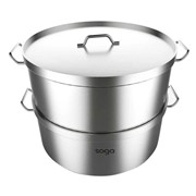 2 Tier Commercial 304 Stainless Steel Steamer 50*30cm