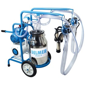 Double Bucket Single Cluster Milking Machine Trolley