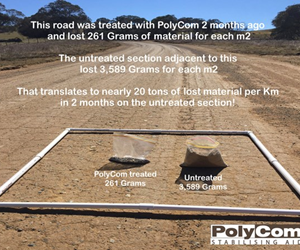 Test results of treated road section using PolyCom vs untreated section.