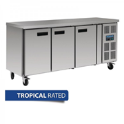 3 Door Counter Fridge | 417Ltr Stainless Steel