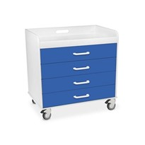 Extra Wide Compact 4 Drawer Locking Cart