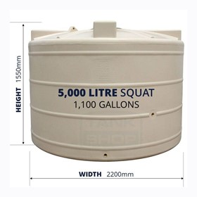"5000 Litre ""Squat"" Round Poly Water Tank"