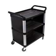 3 Tier Covered Utility Cart Black