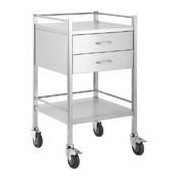 Stainless Steel Hospital Rounds Trolley with 2 x Draws and Rail