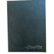 Menu Cover | Handmade A4 Black Faux Leather Cover with Vertical Pocket