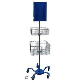 Mobile PPE Soldier Stand - 1 Small & 1 Large Basket