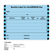"Medical Label ""Burette Label for IntraVENOUS use"""