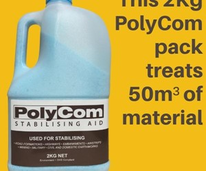 2kg Pack of PolyCom Stabilising Aid treats 50m3 of dirt material