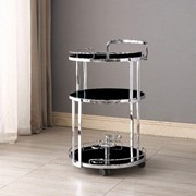 Cocktail Trolley Chrome with Black Glass Shelves