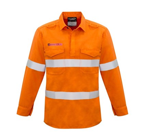Hi-Vis WorkWear | Syzmik Mens FR Closed Front Hooped Taped Shirt