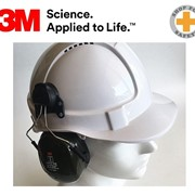 Hard Hat Earmuffs Set White Hat + 3M H7P3E Earmuffs