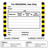 "Medical Identification Label ""For Regional Use Only"""