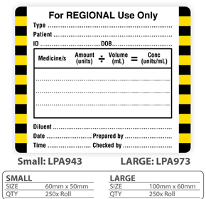"Medical Label ""For Regional Use Only"""