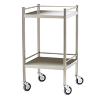 Stainless Steel Trolley with Rails and Two Shelves | Dalcross