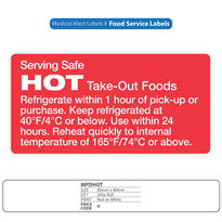 Hospital Food Service Identification Labels