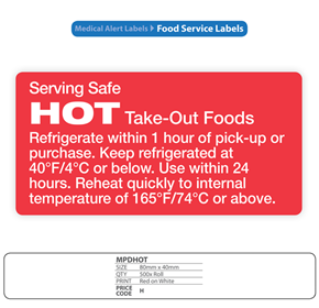 Hospital Food Service Labels