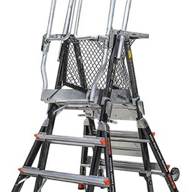 Adjustable Fibreglass Platform Ladders | Safety Cage