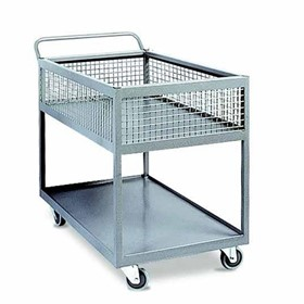 2-Tier Powder-Coat Industrial Basket Trolley