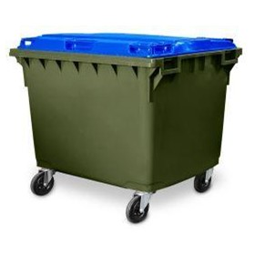 Heavy Duty 1700L 4 Wheel Plastic Storage Bin Green Body with Blue Lid