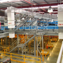 Industrial guardrails used in parcel facility centre