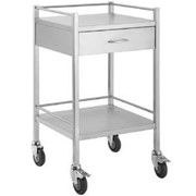 Stainless Steel Hospital Rounds Trolley with 1 x Draw and Rail